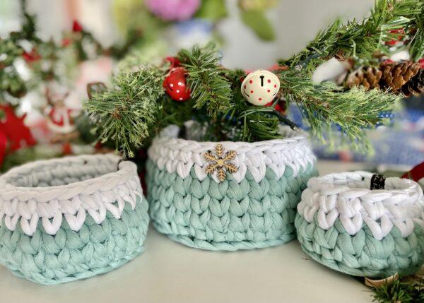 Crochet Basket Christmas Gifts Christmas Decor