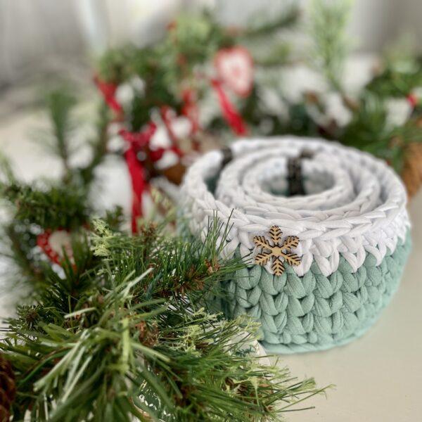 Christmas Gifts, Christmas crochet storage, Christmas storage pots and Home decor