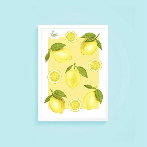 Summer Lemons | Illustrated Lemon Print A4 [210mm x 295mm] | Home Inspo, Colourful Home Prints, Kitchen Wall Art, Room Decor, Illustration