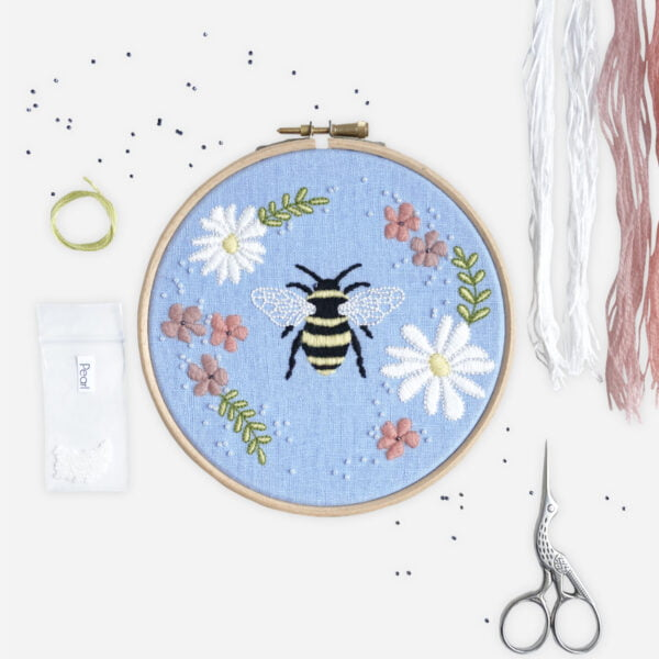 Bee Floral Embroidery Kit