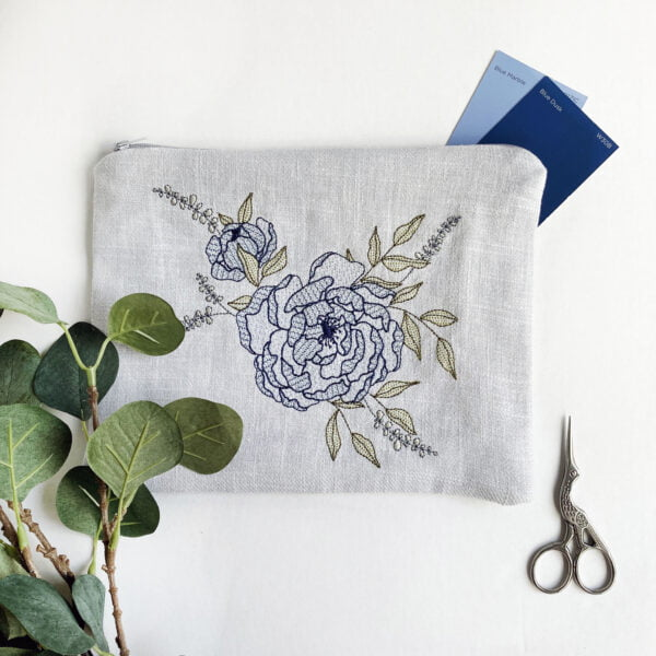 Kirsty Freeman Design - Blue Peony Floral Embroidered Zipper Pouch Bag